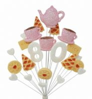 Afternoon tea 80th birthday cake topper decoration in pale pink and white - free postage